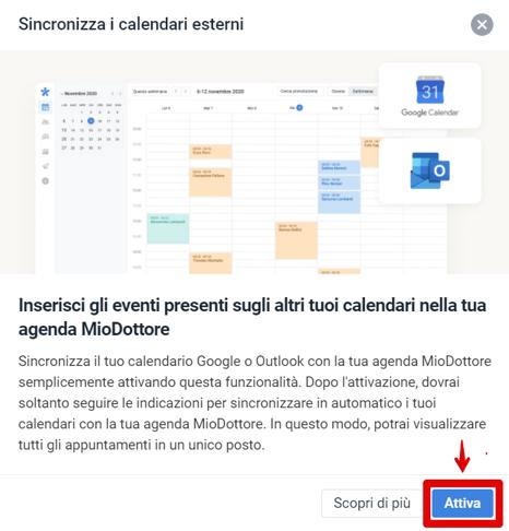 impostazioni sincronizzazione agenda attiva